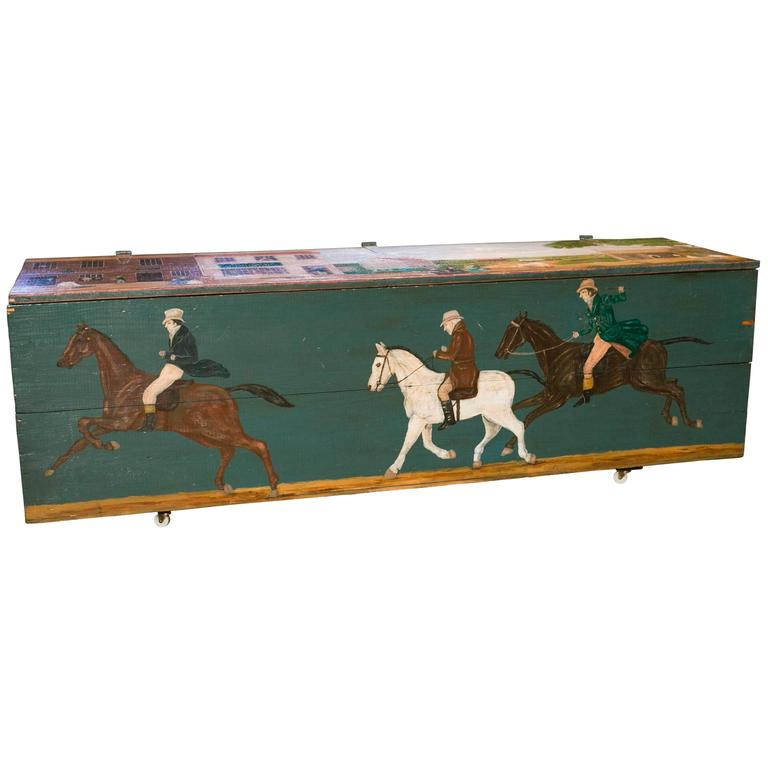 Large American Blanket Chest with Equestrian Scene Painted by Artist Lew Hudnall