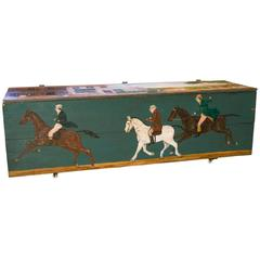 Large Antique Blanket Chest with Equestrian Scene Painted by Lew Hudnall
