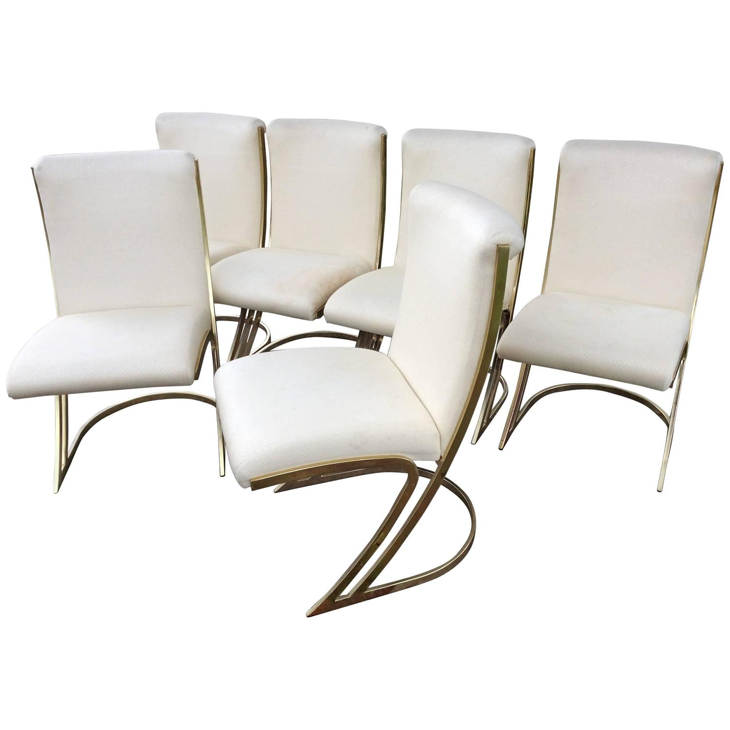 Pierre Cardin Vintage Set of Six Brass Side Dining Chairs ...