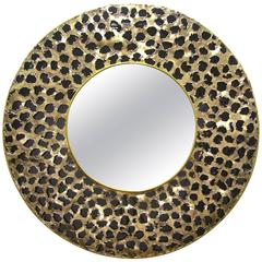 Contemporary Italian Brutalist Brass and Black Glass Modern Round Mirror