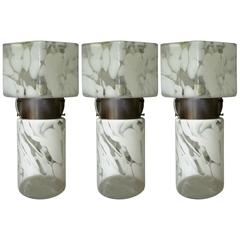 Set of Three Murano Glass Milky and Clear Geometric Sconces