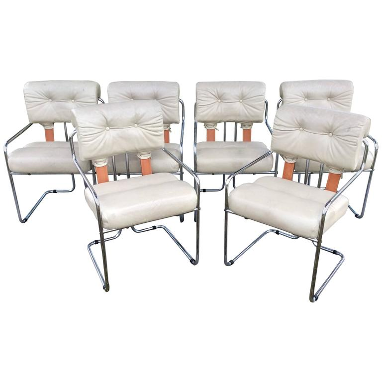 """Mariana Pace Vintage Set of Six """"Tucroma"""" Dining Chairs Chrome, Italy Faleschini"""