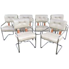 "Vintage Set of Six Mariani Pace ""Tucroma"" Dining Chairs Chrome, Italy Faleschini"