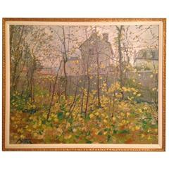 """Pierre Bittar """"In the Parc de Saint-Cloud"""" Oil on Canvas, Signed"""