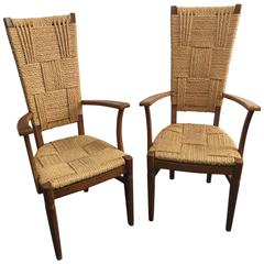 Pair of Audoux-Minet High Back Armchairs