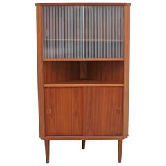 Danish Modern Teak Wooden with Glass Corner Cupboard Credenza, 1950s