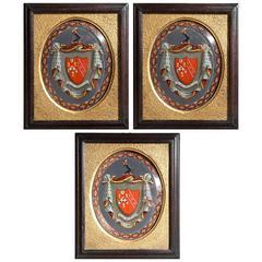 Three Victorian Églomisé Armorials of the Eddinger Family