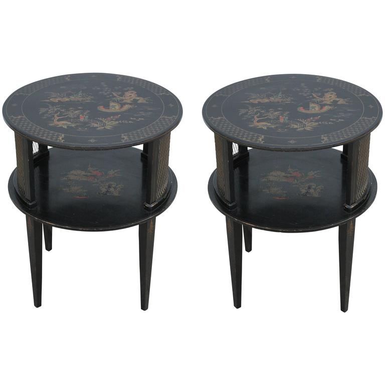 Pair Of Round Black Hand Painted Chinoiserie Side Tables For