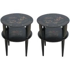 Pair of Round Black Hand-Painted Chinoiserie Side Tables