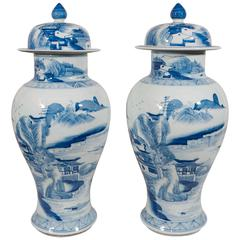 Pair of Antique Blue and White Chinese Porcelain Ginger Jars