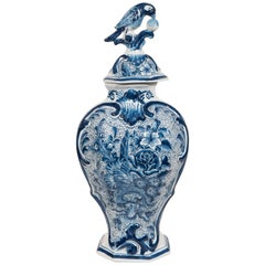Dutch Delft Blue and White Covered Vase Made circa 1830