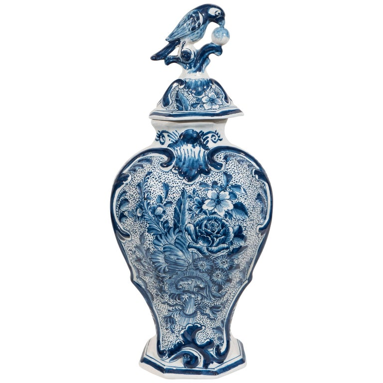 Dutch Delft blue and white covered vase, ca. 1830, offered by Bardith