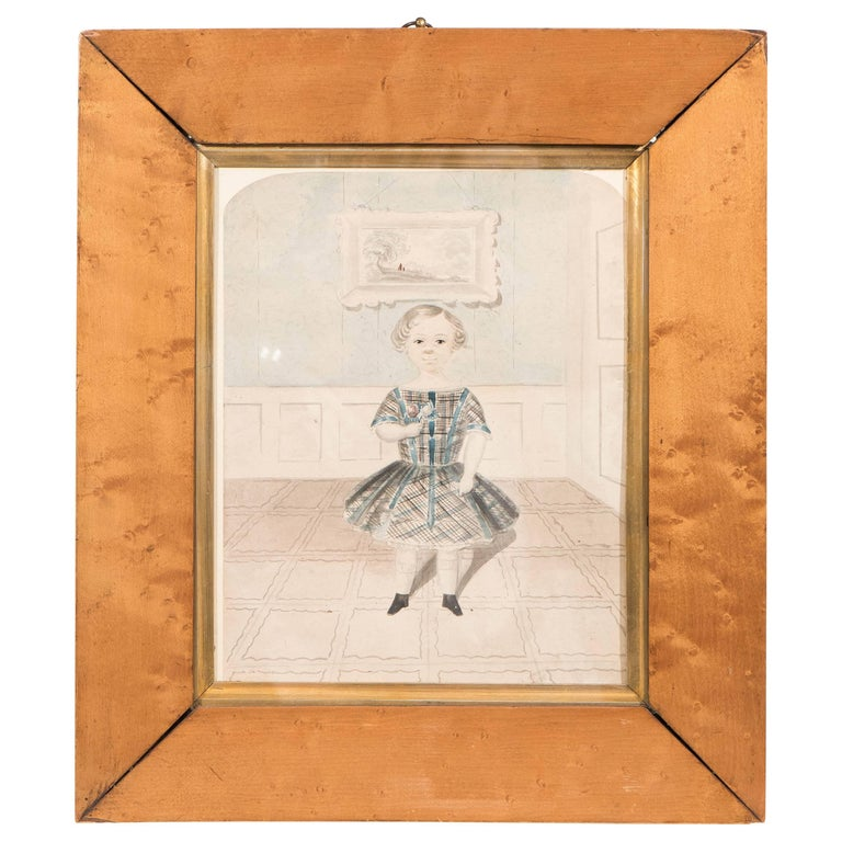 Antique Watercolor Portrait of a Young Girl For Sale