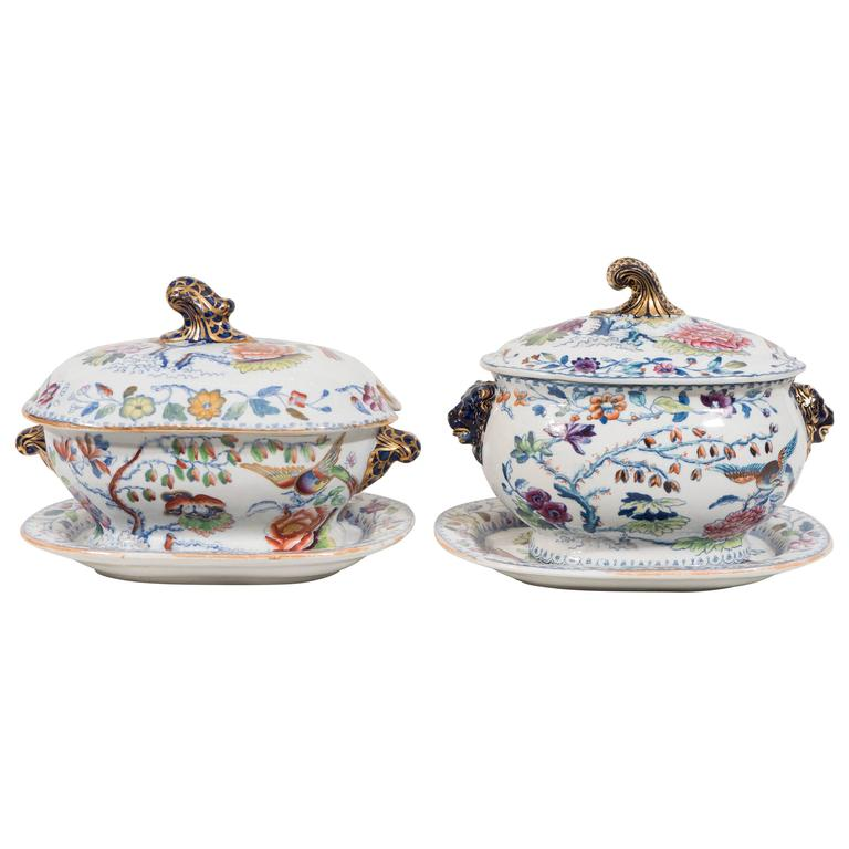 "Two Mason's Ironstone ""Flying Bird"" Pattern Sauce Tureens For Sale"