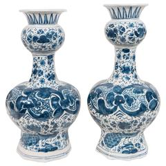Pair of Small 18th Century Blue and White Dutch Delft Vases