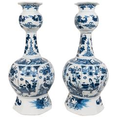 Pair of 18th Century Blue and White Dutch Delft Vases
