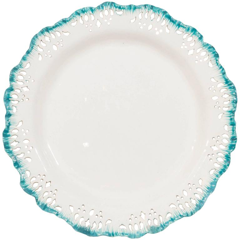 Wedgwood Creamware Dishes with Turquoise Edge at 1stdibs