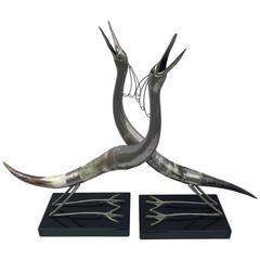 Sculptural Pair of Horn and Silvered Brass Birds Mounted on Black Acrylic Bases