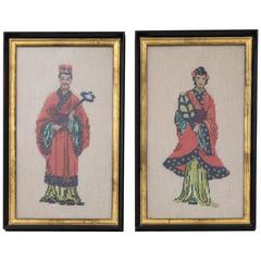 Vintage Hand-Knotted Chinese Bride and Groom Ebony and Gilt Frame