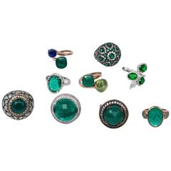 Group of Ten Swarovski Sterling and Various Stones