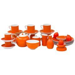 31 Piece Vintage Porcelain Tangerine Orange Dessert Set
