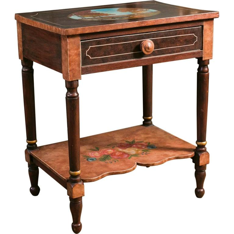 Antique Bedside Table Hand Painted By Lew Hudnall For Sale