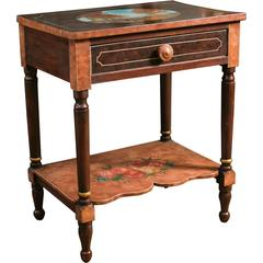 Antique Bedside Table Hand-Painted by Lew Hudnall