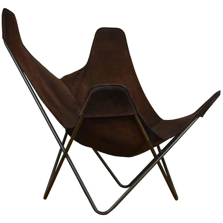 1970s knoll butterfly chair by jorge ferrari hardoy suede. Black Bedroom Furniture Sets. Home Design Ideas