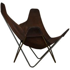 1970s Knoll Butterfly Chair by Jorge Ferrari-Hardoy, Suede Leather Sling Chair