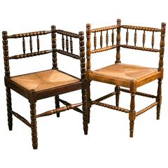 Near Pair of Vintage Bobbin Style Rush Seat Corner Chairs