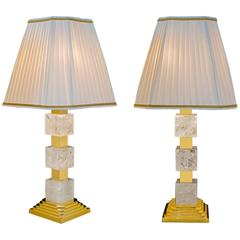 Rock Crystal Art Deco Style Lamps by Alexandre Vossion