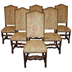 Set of Six 19th Century Walnut Os De Mouton Chairs