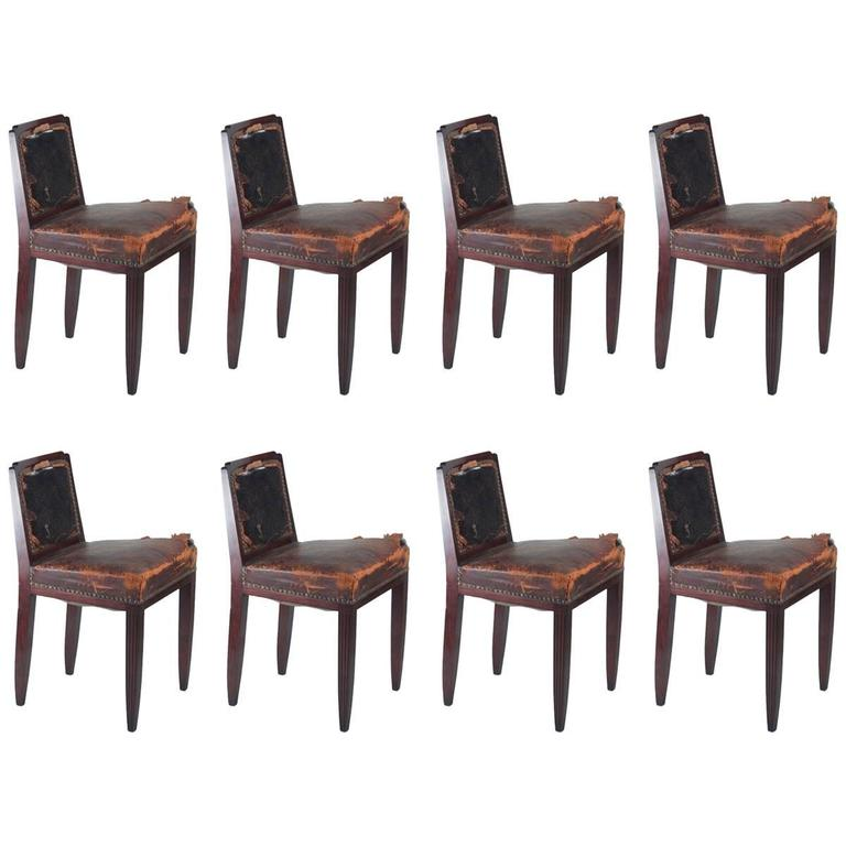 Paul Follot Set of Eight Rosewood Dining Chairs