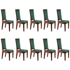 Charles Dudouyt Set of Ten Dining Chairs
