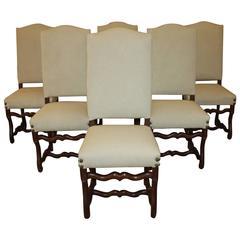 Set of Six Os De Mouton Oak Side Chairs