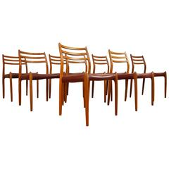 Set of Eight Danish Niels Møller Model 78 Teak and Leather Dining Chairs