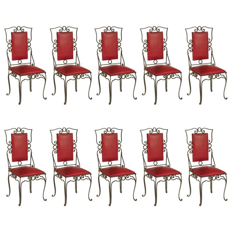 `1940s Set of Ten Forged Iron Dining Chairs
