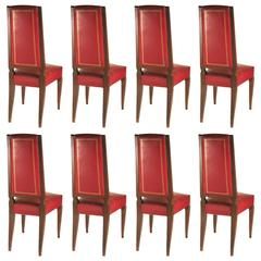 French 1940s Set of Eight High-Back Dining Chairs