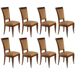 French 1940s Set of Eight High Back Dining Chairs