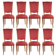 French 1940s Set of Eight Dining Chairs in Beech