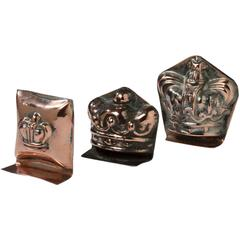 English Copper Set of Two Miniature Aspic Kitchen Cooking Moulds, 20th Century