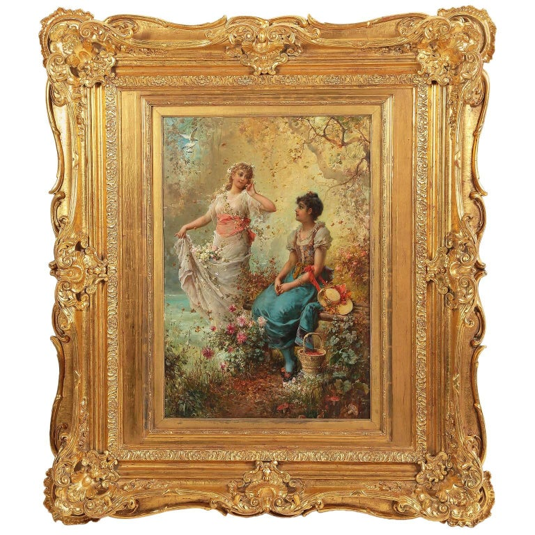 "Hans Zatzka, Austrian Oil on Board Titled ""Springtime"" Maidens Picking Flowers For Sale"