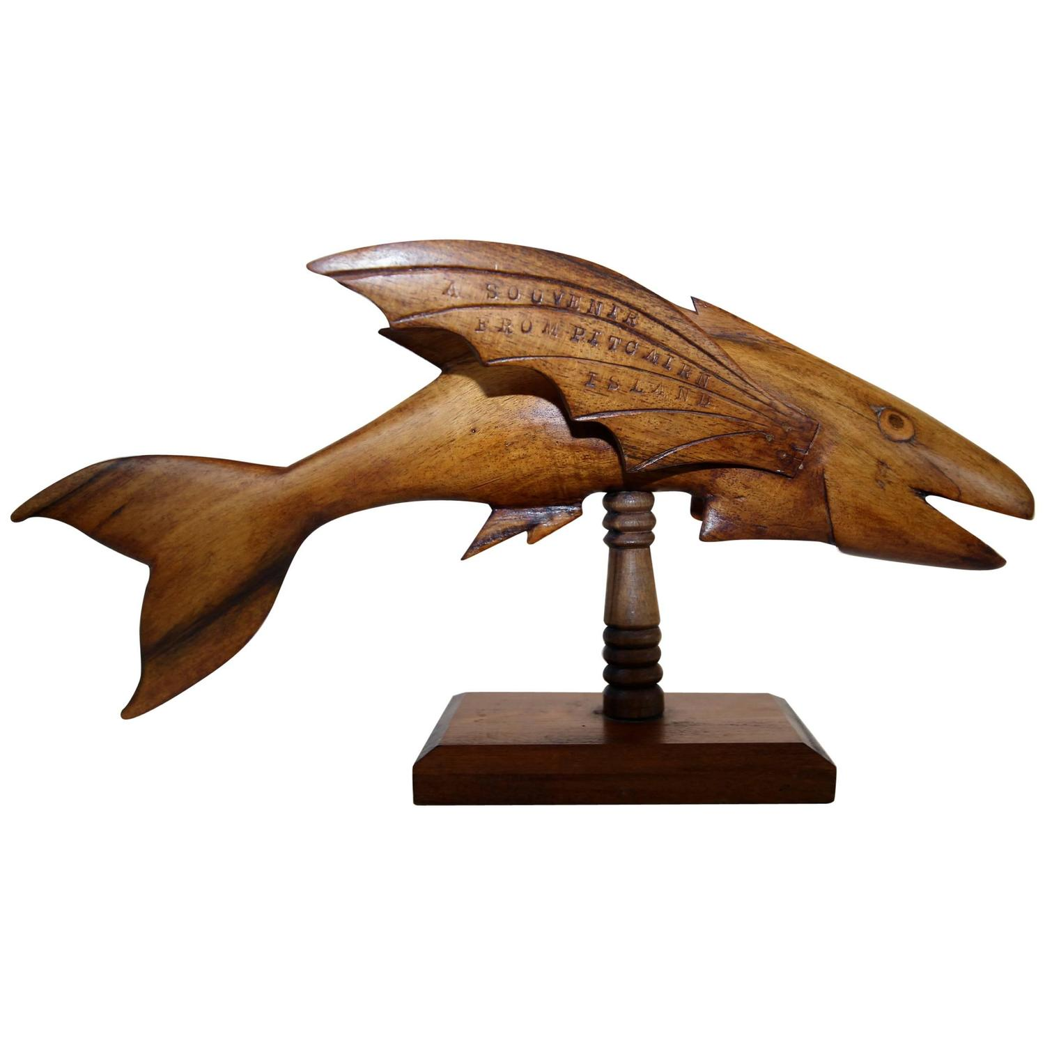 Carved flying fish from pitcairn island at stdibs