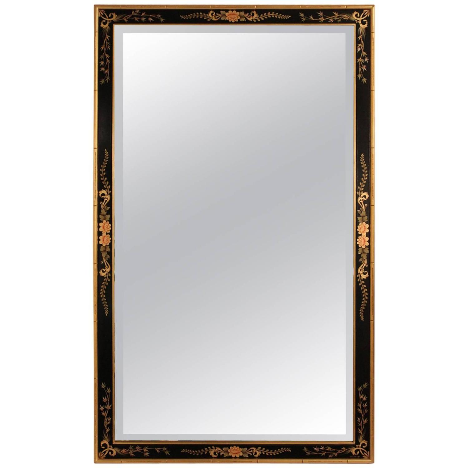 Labarge hand painted beveled wall mirror at 1stdibs for Beveled wall mirror