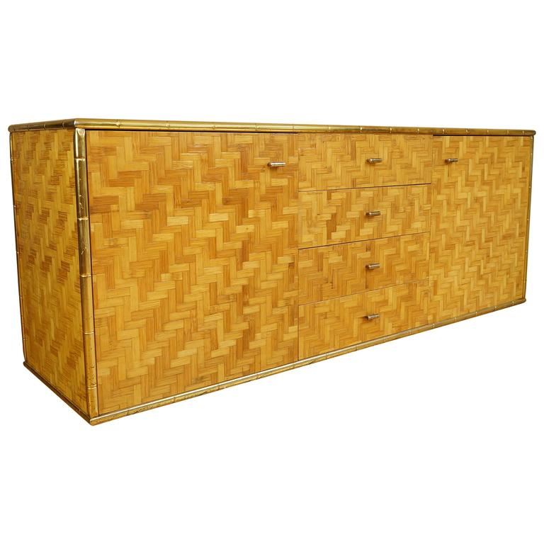 Vintage Italian Bamboo Weave Credenza Sideboard With Brass Gold Metal Trim At 1stdibs