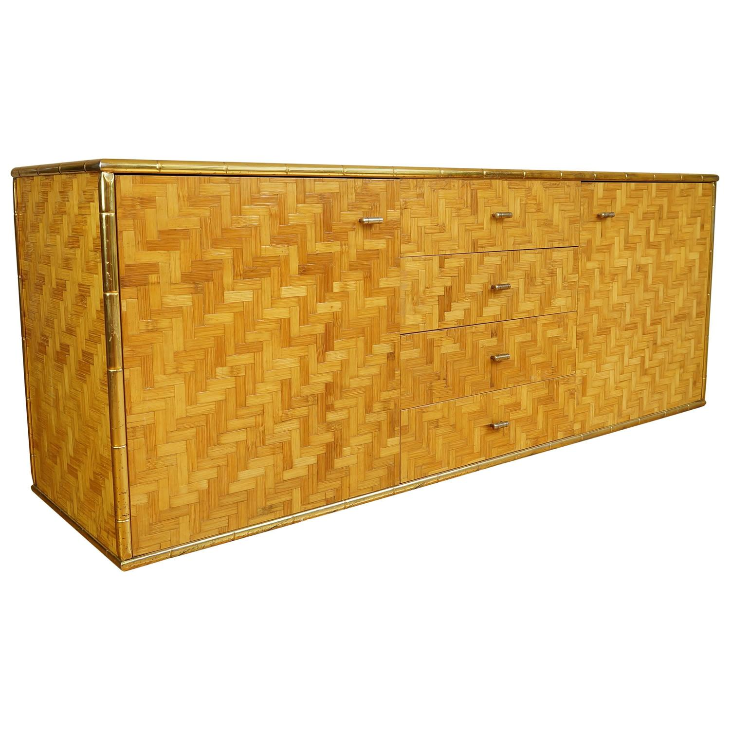 Vintage italian bamboo weave credenza sideboard with for Sideboard gold