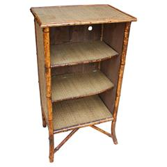 Bamboo Cabinet with Three Rattan Shelves