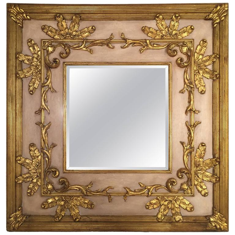 Large Square Friedman Brothers Gilt and Beveled Glass Mirror