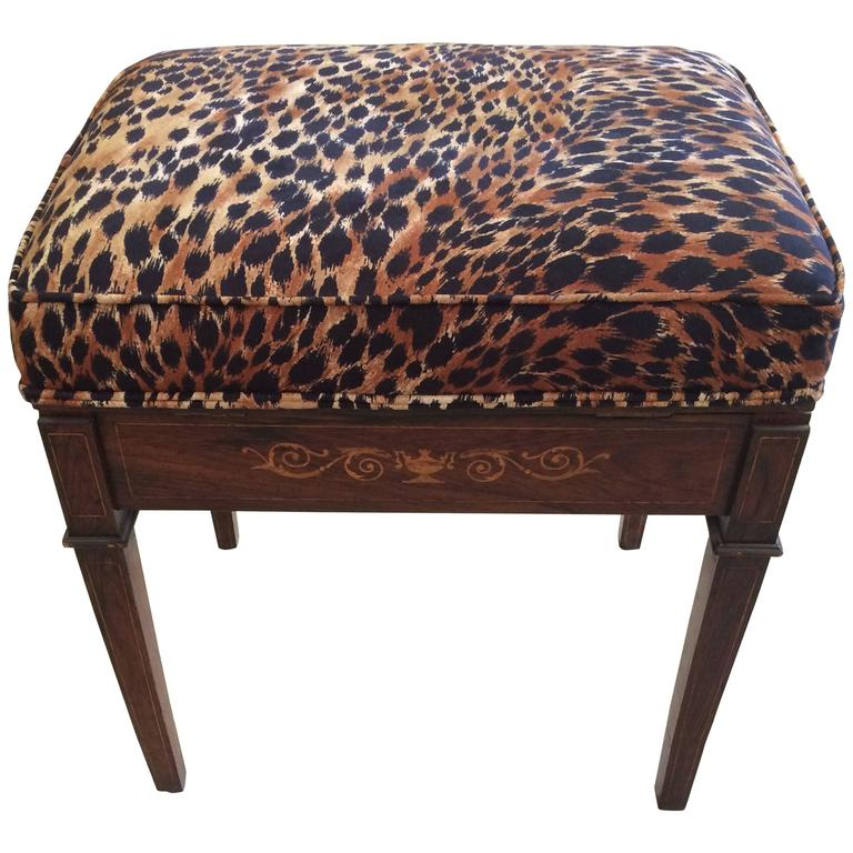 Classic mahogany little bench with animal print cushion Leopard print bench