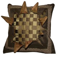 Explosion Pillow, Woven Silk Checkerboard Pattern in Gold Tan and Cream
